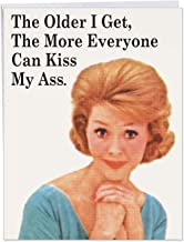 NobleWorks - Everyone Kiss My A-s Card - Big Happy Birthday Card for with Envelope (Big 8.5 x 11) - Sassy Bday Card for Mom, Wife, Girls J5452BDG