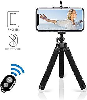Alfort Mini Trípode Trípode Móvil Flexible 360°Rotación Teléfonos de Soporte con Control Remoto Portátil Trípode para iPhone 8/8 Plus/Samsung S7 Edge/Huawei P10/Mate 9 Pro y Otros iOS/Android (5.5)