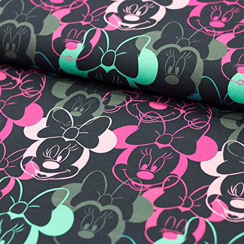 Swafing Stoff Baumwolljersey Disney Minnie Mouse dunkelblau pink Mint 50cm x 160cm (Grundpreis: 19,90€/Meter) Kinderstoff zum nähen