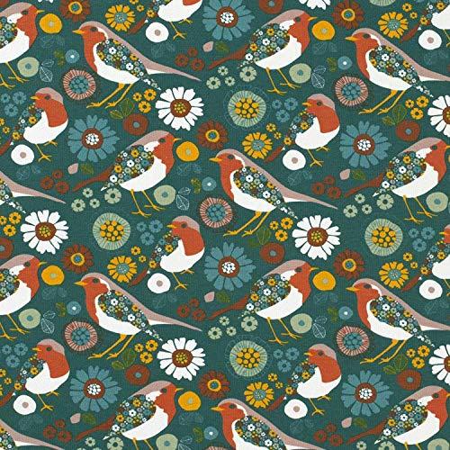 Werthers Stoffe Stoff Baumwolle Sweatshirt French Terry Petrol Vogel Blumen gelb Vögel Bekleidungsstoff Jersey