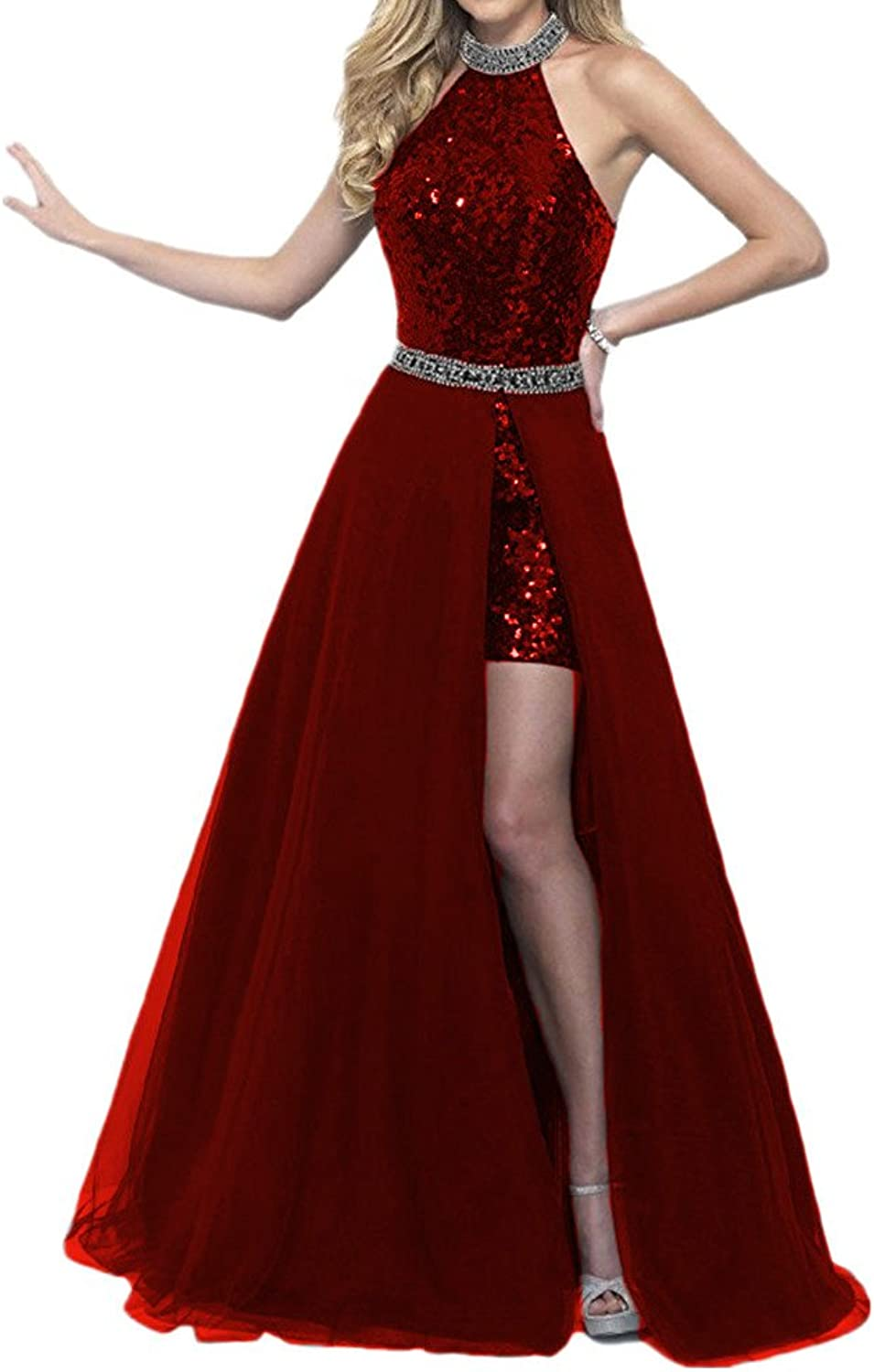 Beautydress Two Pieces Sequins Prom Dress with Detachable Train Evening Gown