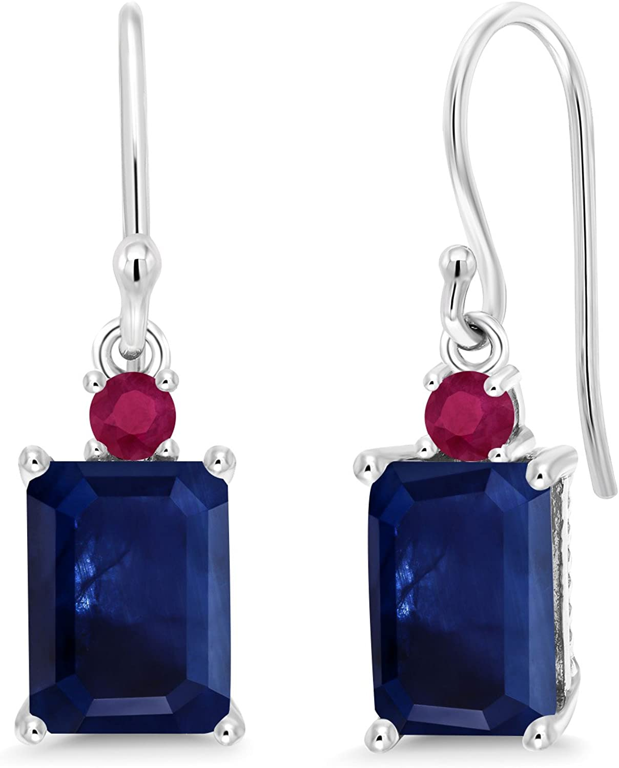 Gem Stone King 2.66 Ct Octagon bluee Sapphire Red Ruby 10K White gold Earrings