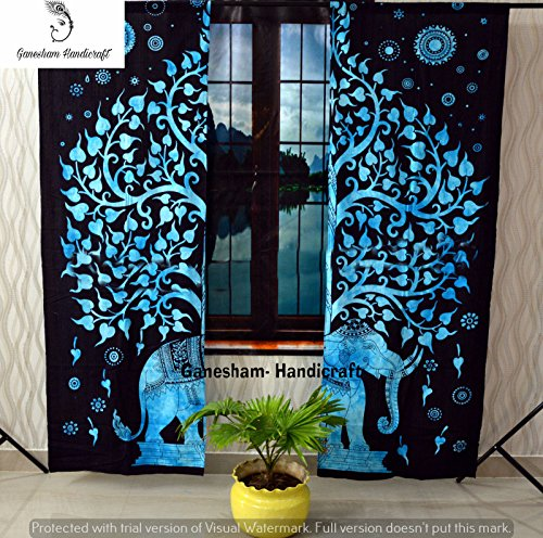 GANESHAM Indian Tapestry Living Room Shower Curtains, for Bedroom Room Darkening Blackout Curtains, Hippie Balcony Sheer Room Divider Window Treatments & Valances Handmade Door Curtain 2 Panel Set