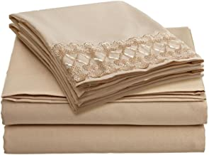 Clara Clark 1800 Collection Bed Sheet Set with a Beautiful Lace Design on the Pillowcase, King, Cream