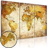 murando Weltkarte Pinnwand & Vlies Leinwand Bild 120x80 cm XXL Bilder mit Kork Rückwand 3 Teilig Kunstdruck Korktafel Korkwand Memoboard Pinboard Wandbilder Karte Landkarte k-B-0020-p-a