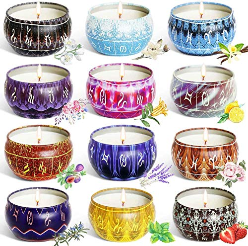 YIHANG Scented Candles Gift Sets, Natural Soy Wax 2.5 Oz Unit Portable Travel Tin Perfect for Women Aromatherapy Anniversary - 12 Pack