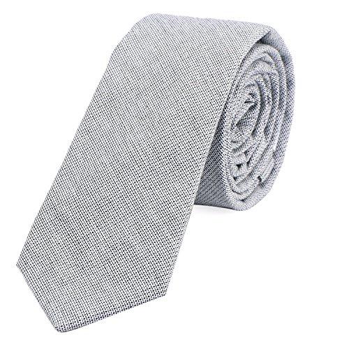 DonDon Corbata estrecha de algodón para hombres de 6 cm con look estilo vaquero Jeans - gris claro-negro