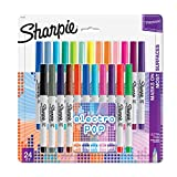 Sharpie Electro Pop Permanent Markers | Ultra Fine Point Markers, Assorted Colors, 24 Count