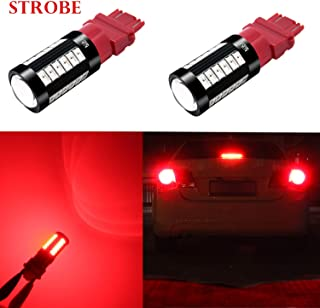 Alla Lighting 2800lm Red 3156 3157 LED Strobe Brake Lights Bulbs Xtreme Super Bright T25 Wedge High Power 5730 33-SMD 12V ...