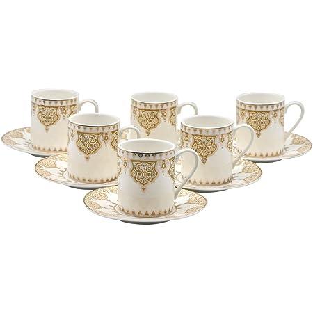 Saucers Porcelain China Espresso Turkish Coffee Demitasse Set of 6 Cups