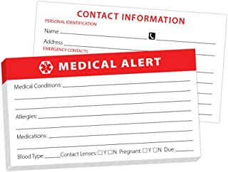 Medical Alert ID Wallet Card - 10 Pack for Emergencies Heavyweight Card Stock Bright Red Easy to Read Made in USA Could Save Your Life by Pill Thing