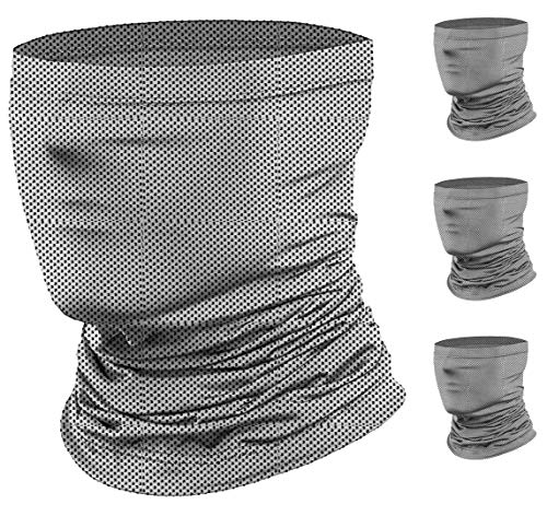 Neck Gaiter (4 Pack), Face Cover Scarf, Summer Cool Breathable Lightweight, Ideal for Fishing Hiking Running Cycling - Gray and White