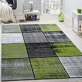 Paco Home Designer Teppich Modern Kurzflor Karos Speziell Meliert Grau Schwarz Grün, Grösse:80x150 cm