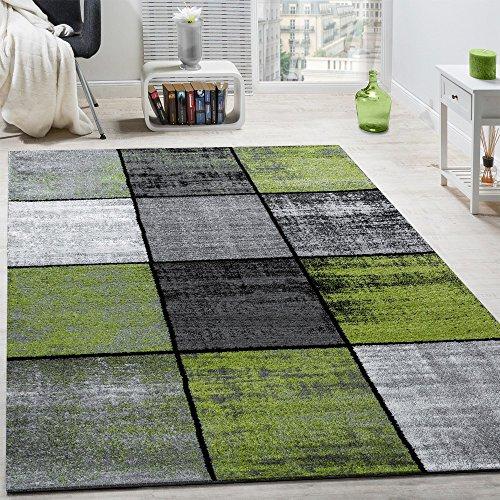 Paco Home Designer Teppich Modern Kurzflor Karos Speziell Meliert Grau Schwarz Grün, Grösse:120x170 cm