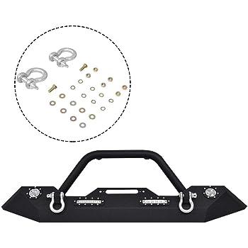 Goplus Front Bumper w/Hooks & Fog Light Hole for 2007-2018 Jeep Wrangler JK (Front Bumper- Led Light)