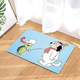 GAOFENFFR Dibujos Animados Lindo Tortuga Verde Guerrero y Cachorro de Sombrero Rosado Blanco sobre Fondo Azul Impermeable Antideslizante sin químicos tapetes