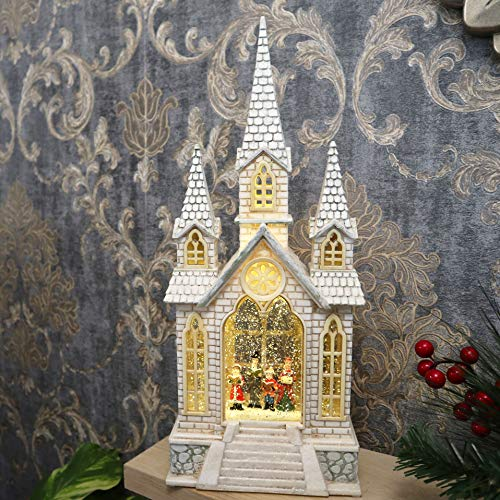 SHATCHI Traditional Christmas Water Glitter Snow Globe Village LED Nativity Scene Xmas Home Decoration-Holy Family, Carol Singing Church, 40.7 x 17 x 10 CM