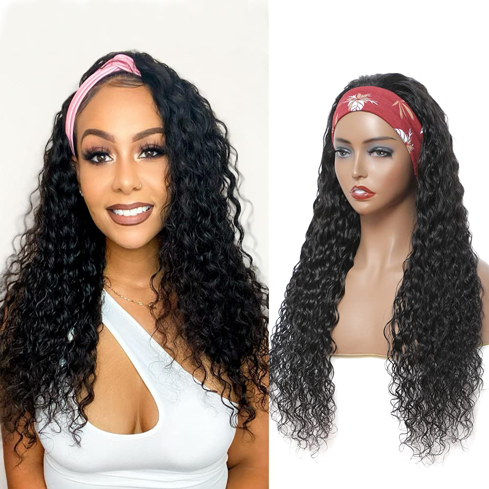 Water Wave HeadBand Wigs SEAL limited product Direct store Human Hair For Bla 20 Wig Inch Headband