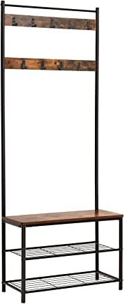 VASAGLE Coat Rack Stand, Industrial Coat Tree, Hallway Shoe Rack and Bench with Shelves, Hall Tree with Hooks, Matte Metal Frame, Height 175 cm Rustic Brown HSR41BX
