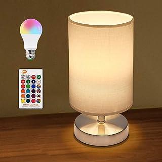 Lámpara de mesa, lámpara de mesita de noche con mando a distancia, E27, regulable, lámpara de mesa con casquillo y cable, pantalla de tela para dormitorio, salón, hotel, café