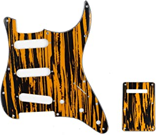 Musiclily SSS 11 Holes Strat Electric Guitar Pickguard and BackPlate Set for Fender US/Mexico Made Standard Stratocaster Modern Style Guitar Parts,4Ply Yellow Black
