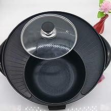 AJH BBQ Hot Pot/Pan Hot Pot électrique grillé en Une pièce de Style coréen Plaque de Cuisson électrique de Style coréen Su...