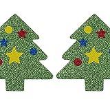 chaosong shop, 10 paia di copricapezzoli natalizi per capezzoli da donna, autoadesivi per reggiseno, albero di Natale con glitter, regalo per le donne