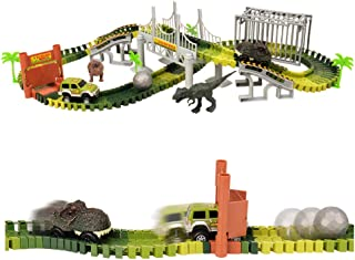 BARWA Dinosaur Toys Race Cars Track Train 2 Dinosaur Cars, Hanging Bridge, Cage, Flexible Track Create Road Playset Gifts Dinosaur Toys for 3 4 5 6 Year Olds Boys Girls