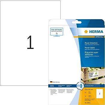 Typenschildetiketten A4 silber 25x10 mm extrem stark haftend Fol Herma