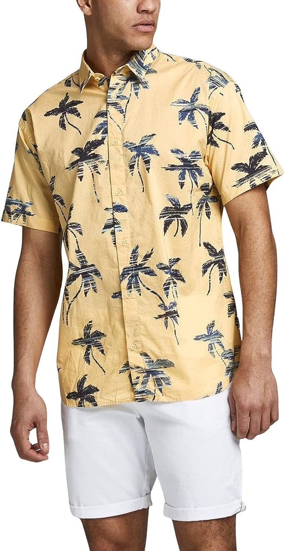 Jack & Jones Camisa Manga Corta JORHAZY Shirt SS LTN para Hombre Hombre