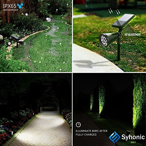 Solar Lights,Syhonic 2-in-1 Waterproof 4 LED Solar Spotlight Adjustable Wall Light Landscape Light Security Lighting Dark Sensing Auto On/Off for Patio Deck Yard Garden Driveway Pool Area(3 Pack)
