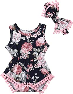 Infant Baby Girls Floral Pompom Tassels Romper Bodysuit Sleeveless Jumpsuit Outfit with Headband Summer Clothes