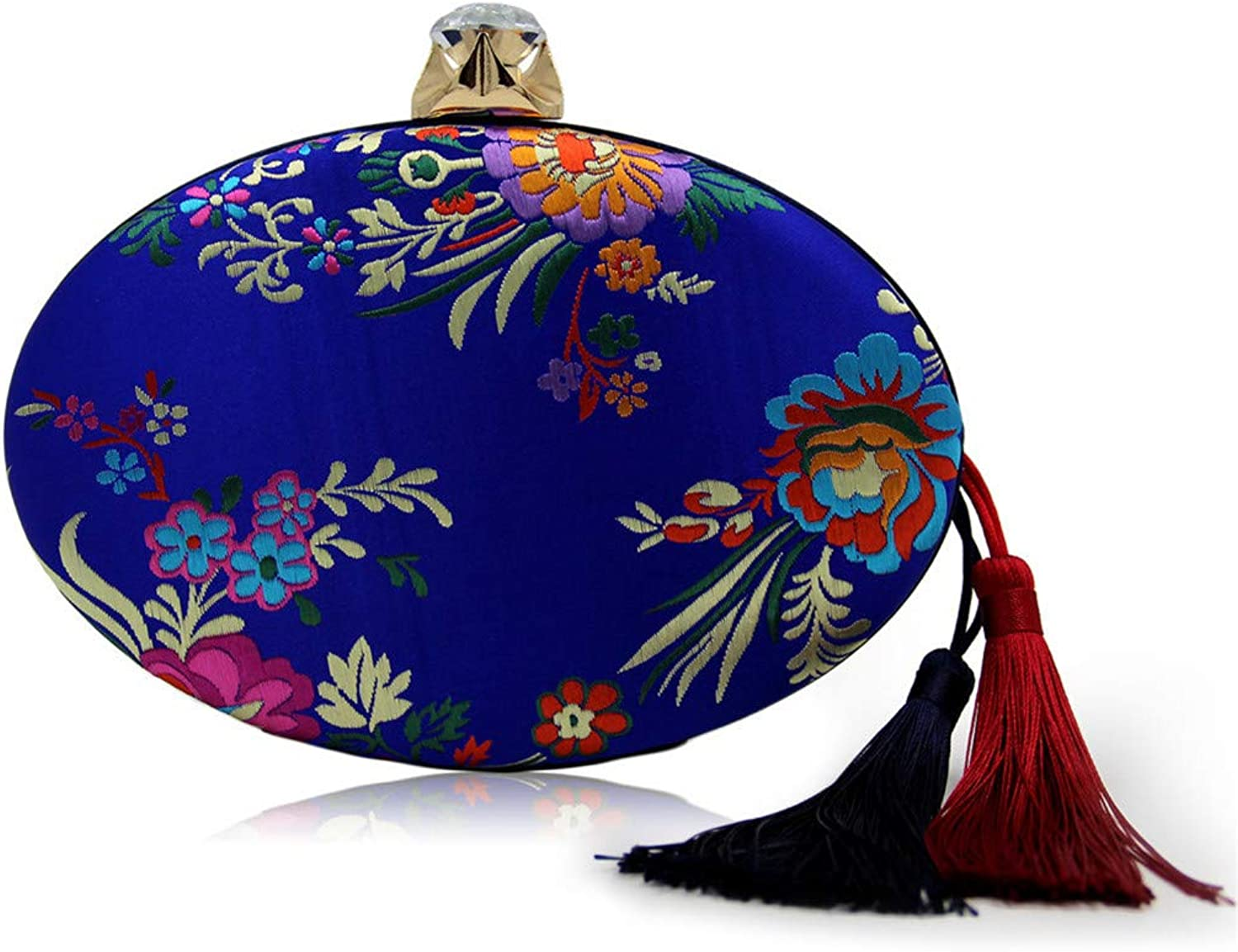 Uekj Women Vintage Floral Red Clutch Purse Diamond Hasp Embroidery Flower Cocktail Evening Bag for Wedding with Tassel