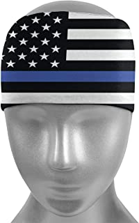 Thin Blue Line American Flag Headband Sports Sweatbands Moisture Wicking Sports Wristband for Mens Womens