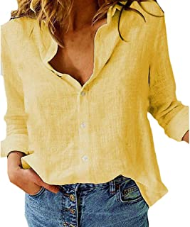 Comaba Womens Linen Cotton Buttoned Long-Sleeve Roll up Blouses Tops Shirts