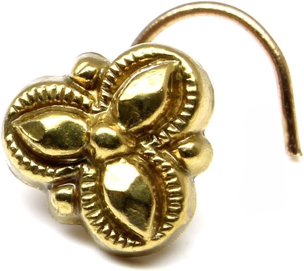 Karizma Jewels Indian Nose Stud, Antique Gold Finish Nose Ring, Corkscrew Piercing Ring l Bend