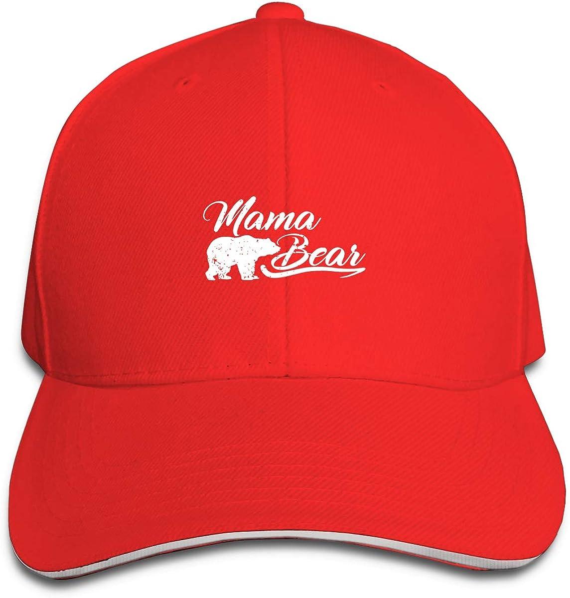 Retro Mama Bear Mom Men and Women Adjustable Sandwich Peaked Baseball Cap