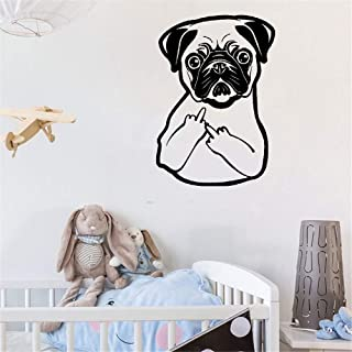 ronntu Wall Sticker Decal Mural Window Vinyl Decal Quote Art Funny Pug Dog Finger Pet Shop Puppy
