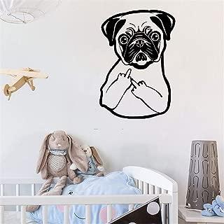 ronntu Wall Sticker Decal Mural Window Vinyl Decal Quote Art Funny Pug Dog Finger Pet Shop Puppy