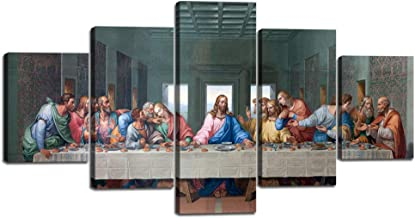 5 Panel Canvas Wall Decor for Living Room The Last Supper,Leonardo Da Vinci Classic Wal Art, Oil Painting on Canvas Print Framed Gallery Wrap Artwork Stretched Ready To Hang(60''Wx32''H)