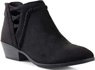 LUSTHAVE Womens SN Western Cut Out Perforated Low Heel Ankle Boots Bootie Black 8