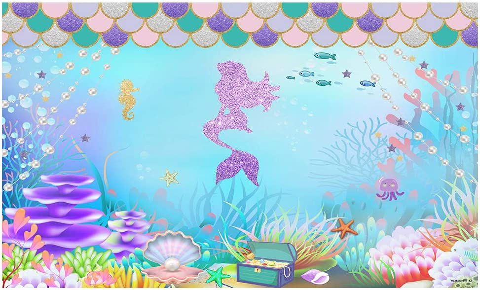 Funnytree 5x3FT Under The Sea Little Mermaid Photography Backdro