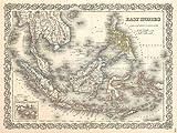 1855 COLTON MAP EAST INDIES SINGAPORE THAILAND BORNEO 24x18