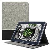 kwmobile Carcasa Compatible con Samsung Galaxy Note 10.1 N8000 / N8010 - Funda de Tela para Tablet con Soporte en Gris/Negro