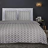 Nimsay Home Spiro - Juego de funda nórdica y funda de almohada (100% franela de algodón), Gris, French Duvet Set 240 x 220 cm