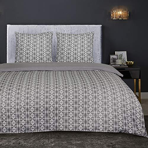 Nimsay Home Spiro Bettwäsche-Set aus 100 % Baumwollflanell, 100 % Baumwollflanell, grau, French Duvet Set 240 x 220 cm
