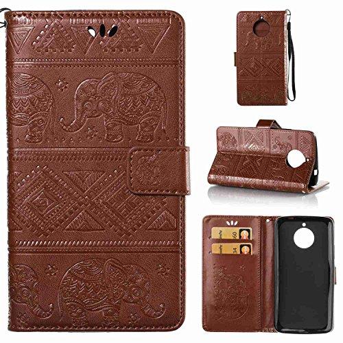 pinlu Schutzhülle Für Motorola Moto E4 Handyhülle Hohe Qualität PU Ledertasche Brieftasche Mit Stand Function Elefanten Muster Braun