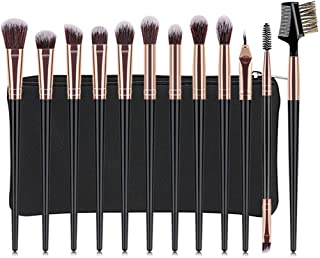 Crazy-store Professional Makeup Brushes Set 12pcs Eyeshadow Brushes for Adult Making up Black with Bag