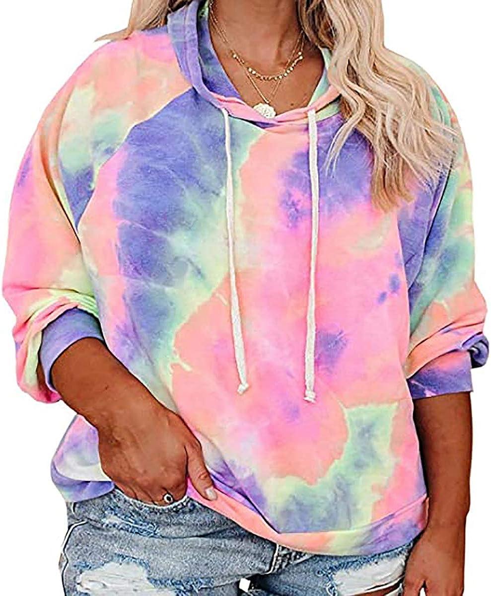 Ritera Women's plus size Tie Dye Hoodies foral Tops Long Sleeve Drawstring Pullover Casual Sweatshirts top L-5XL