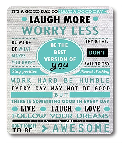 Smooffly Mouse Pad Custom Design, Inspirational Quotes Laugh More Worry Less Don't Forget to Be Awesome,9.5 X 7.9 Inch (240mmX200mmX3mm)